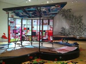 "'mini-house/pavillion', in progress installation shot of ""CandyCoated Wonderland."""