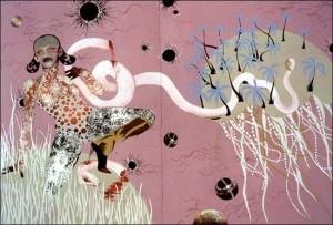 Wangechi Mutu 'YoMama' (2003) mixed media on paper, 59 x 85 in., MoMA,©Wangechi Mutu