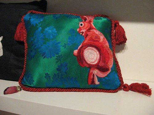 Alyse Bernstein, Unlucky Rabbit, 14 x 14 inches, hand-embroidered