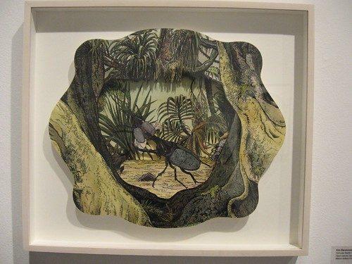 "Kim Baranowski, Hercules Beetle Diorama, hand colored Xerox transfer, 14 x 18"""