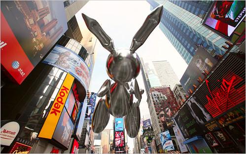 Jeff Koons' Rabbit in yesterday's Macy's Thanksgiving Parade. Photo: Librado Romero/The New York Times