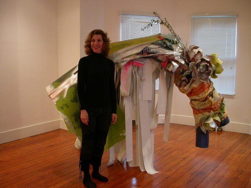 Mari Shaw with a sculptural object by German artist, Isa Genzken