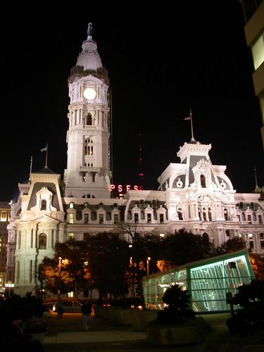 City Hall, lit up at night