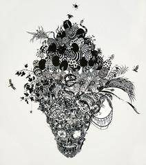Kako Ueda, cut paper skull