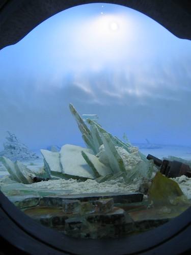 Guy Laramee, The Wreck of Hope, detail of model landscape inside oil barrel