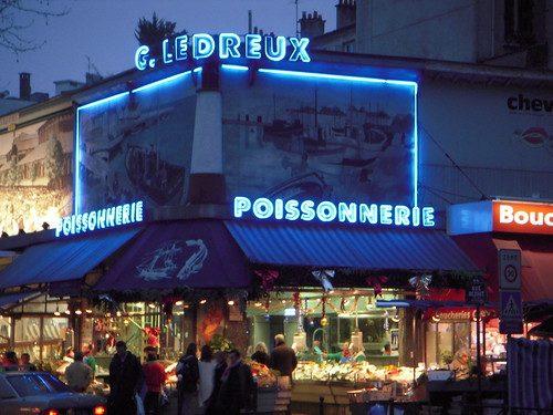Poissonnerie G. Ledreux near our subway stop, Alesia, neon lights!