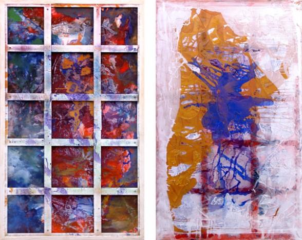 Phigor, 2014. Acrylic and acrylic mediums on canvas, 117 x 70 in. (back, front). Photo courtesy of Thomas Erben.