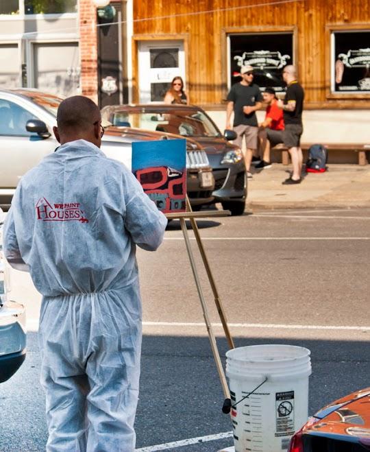 Painter Guillermo at work. Photo courtesy Felipe Castelblanco