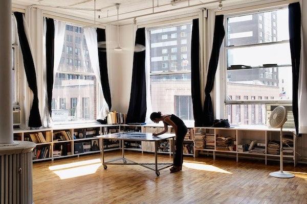 Shirin Neshat in her NYC studio, photo Robin Friend, courtesy Thames and Hudson.