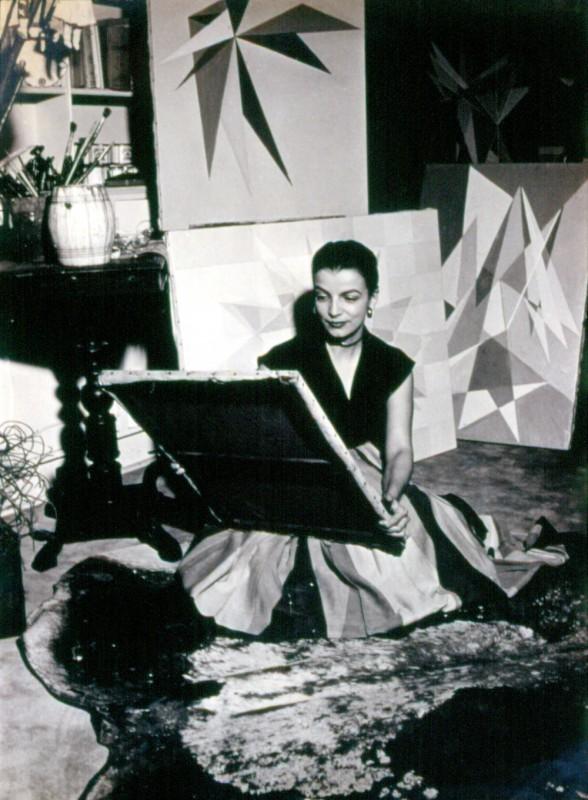 """Lygia Clark in her studio, Rio de Janeiro, c. 1950s. Courtesy Associação Cultural """"O Mundo de Lygia Clark,"""" Rio de Janeiro."""