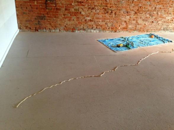 beach blanket and line on floor
