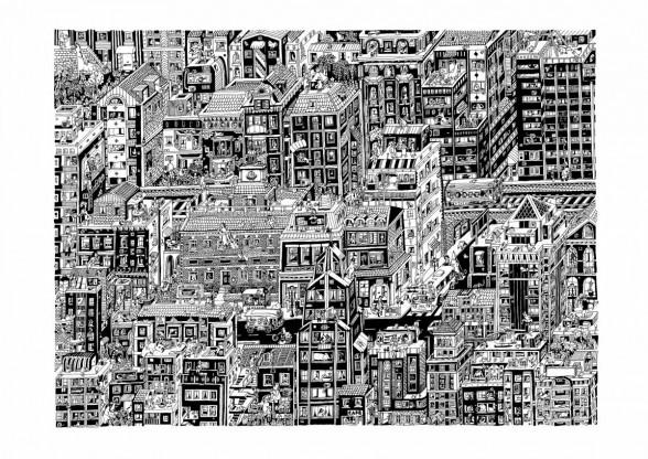 """Guillaume Cornet, """"Philadelphia, """"black ink on 270gsm colorset white paper, 2014."""