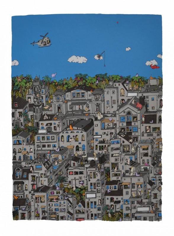 Screen print of a city scene