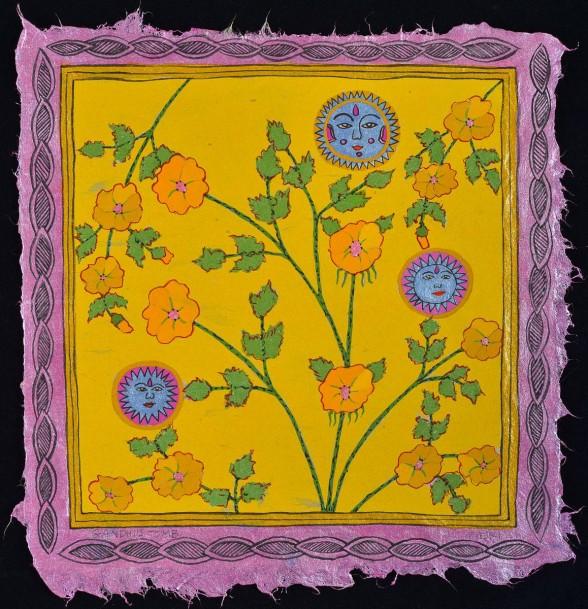 Diane Pieri, Gandhi's Tomb, 2013 - 2014, gouache, casein, inks on handmade Japanese paper.