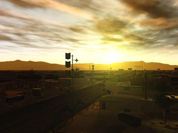 landscape with bright sun