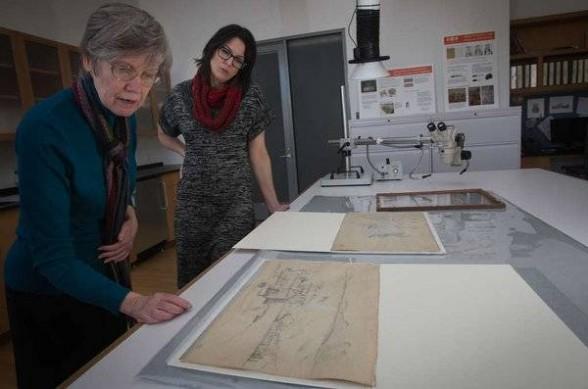 Barbara Buckley (left), Barnes conservation director, and former Barnes curator Martha Lucy view the works. (ALEJANDRO A. ALVAREZ / Staff)