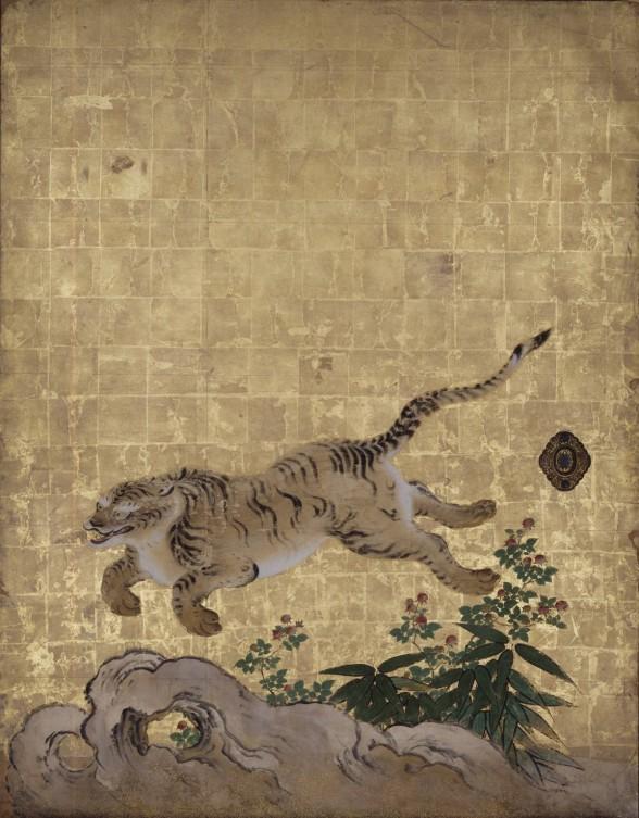 "Kano Tan'yü, detail of ""Tigers in a Bamboo Grove (Tigers at Play)"" (mid-1630s) set of 4-panel sliding doors, each 72 13/16 x 55 1/2 in., Nanzen-ji Temple, Sakyö-ku, Japan. Important Cultural Property."