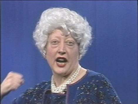 Martha Wilson, Martha Wilson as Barbara Bush, March 11, 1991. Courtesy of the artist.