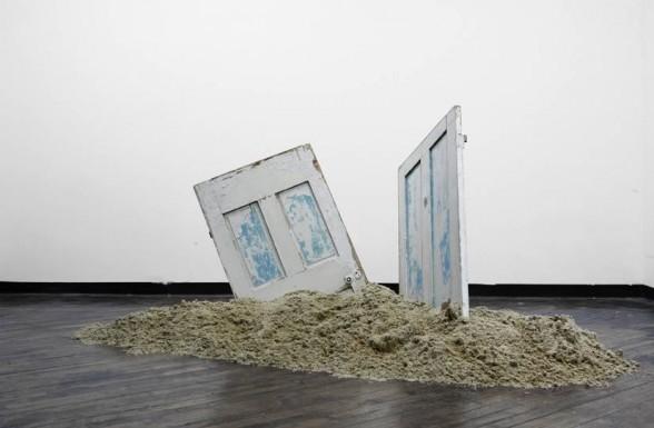 Untitled (Doors, Sand), 2015, by Pratt Institute M.F.A. degree candidate Alexandra Kostakis. Image Credit: Jean Paul Gomez.