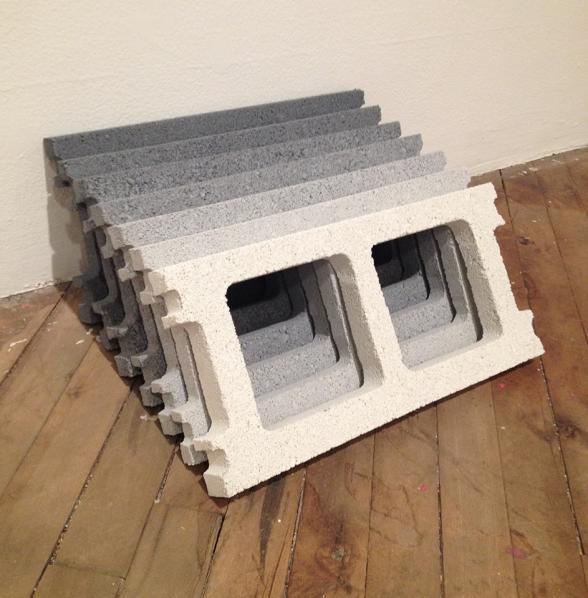 cinder blocks in shades of grey