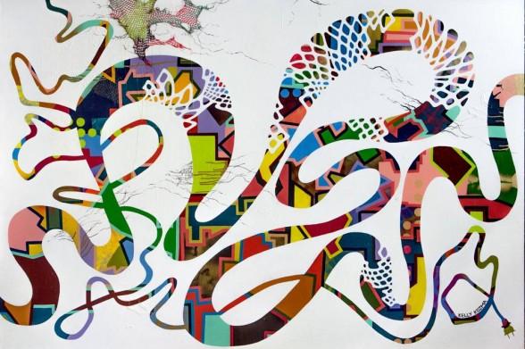 """Kelly Kozma, Unplug It and Plug It Back In, 72"""" x 48"""", latex paint, spray paint, netting, gloss medium on canvas, 2014."""