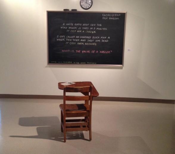 chalkboard and student desk