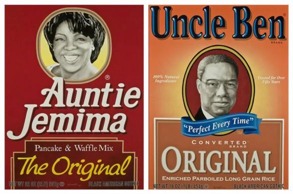 """Colin Quashie, Auntie Jemima (Oprah)57"""" x 69""""Acrylic on Canvas2004; Uncle Ben (Colin)57"""" x 69""""Acrylic on Canvas2004"""