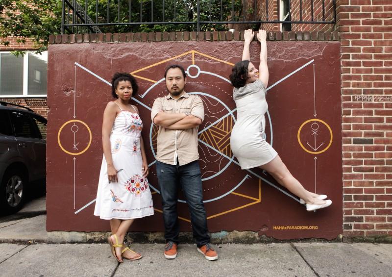 Ginger Rudolph Jason Chen Sara McCorriston posing Paradigm Gallery