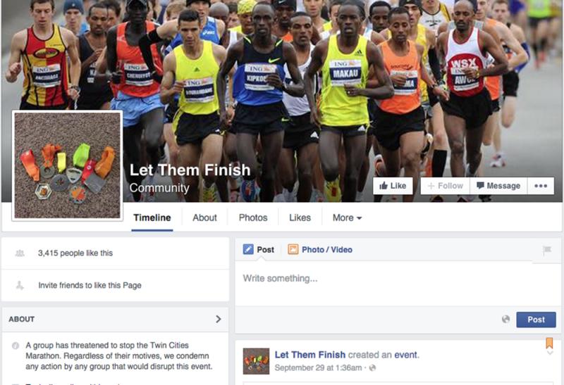 Facebook page for Minneapolis marathon