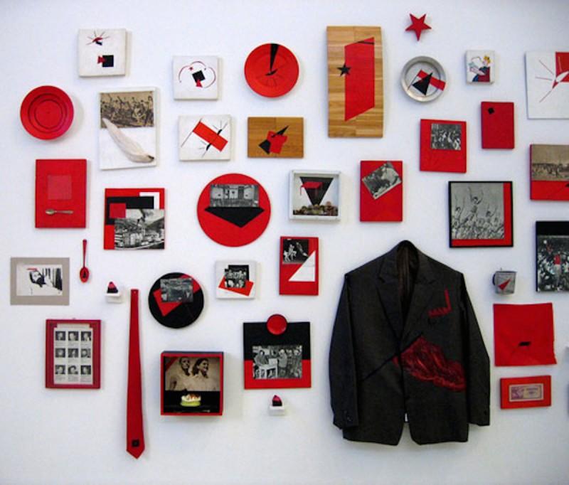 Mladen Stilinovic installation of artifacts on wall