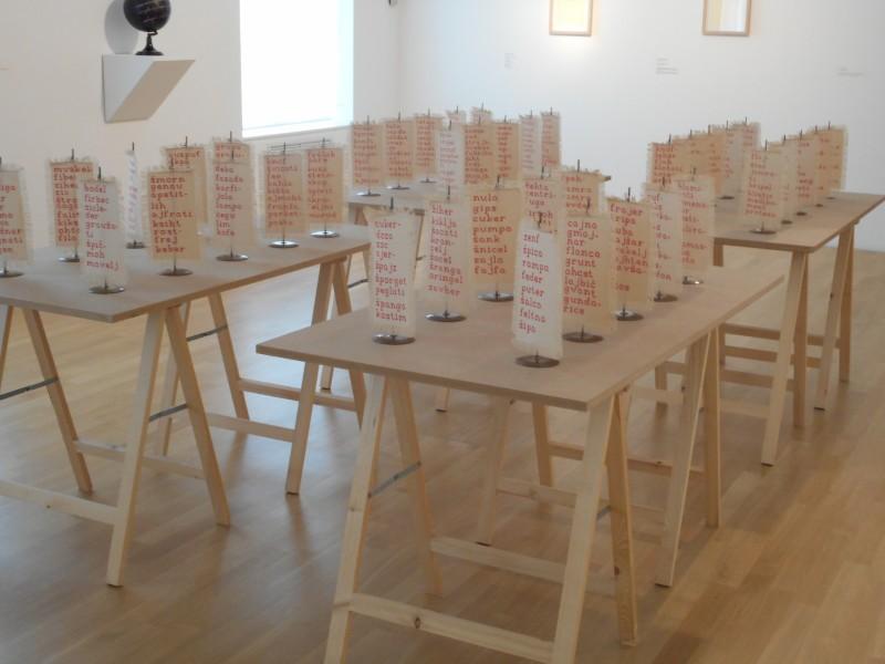Alenka Pirman installation on small tables