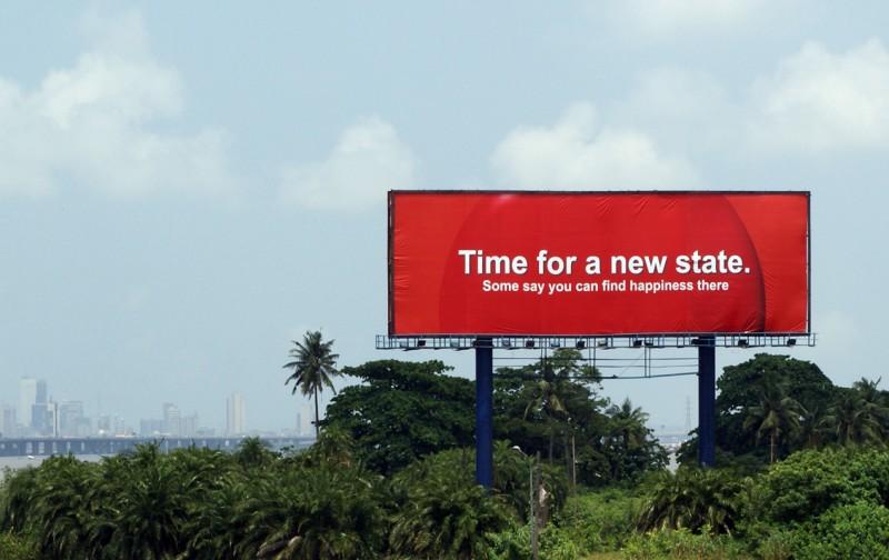 IRWIN billboard with political slogan