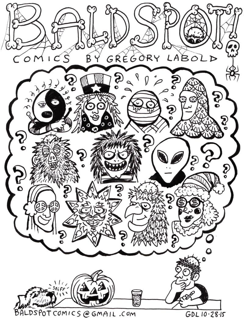 Gregory Labold Bald Spot Comics on Halloween dreaming