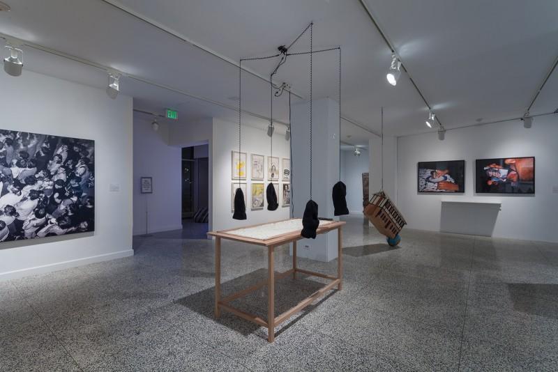 installation view teresa margolles tarjetas para picar cocaina strange currencies moore college of art and design