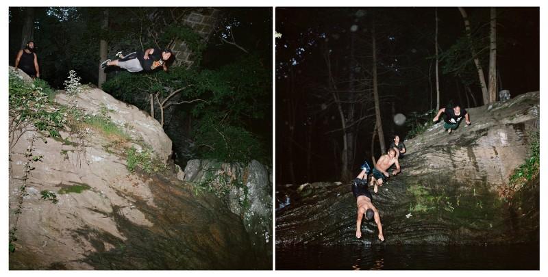 Sarah Kaufman photo diptych of Divers into Devil's Pool