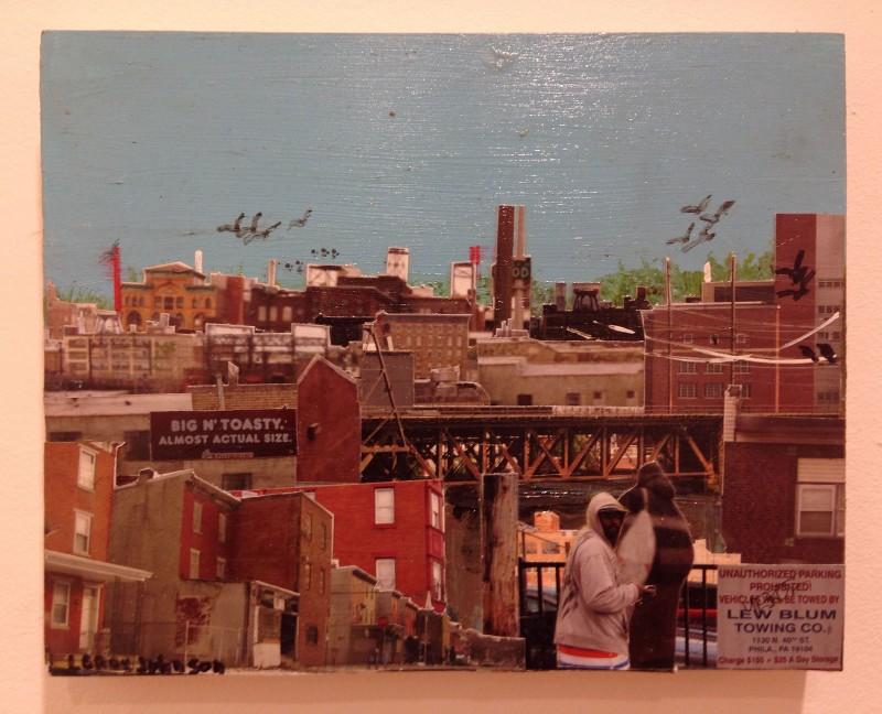 "Leroy Johnson, Eyewitness (medium blue sky), Mixed media on panel, 8"" x 10,"" Courtesy of the artist"