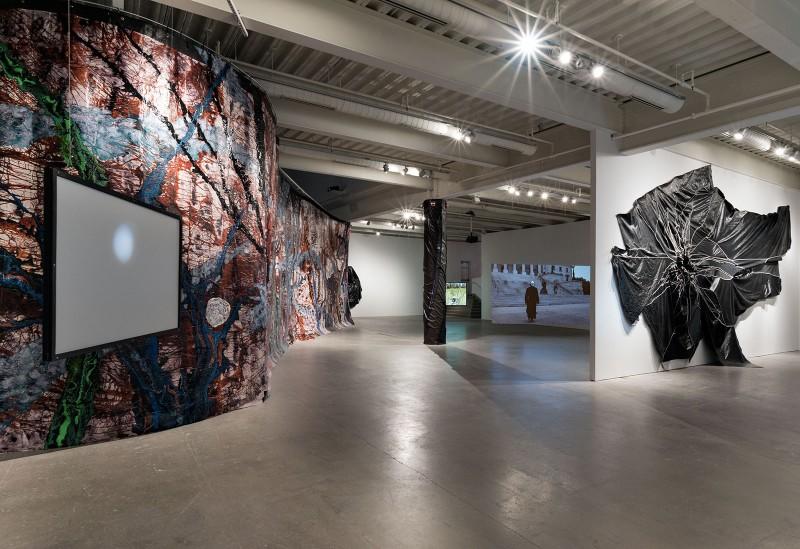 Installation view Rodney McMillian: The Black Show, 2016, Institute of Contemporary Art, University of Pennsylvania. Photo: Constance Mensh.
