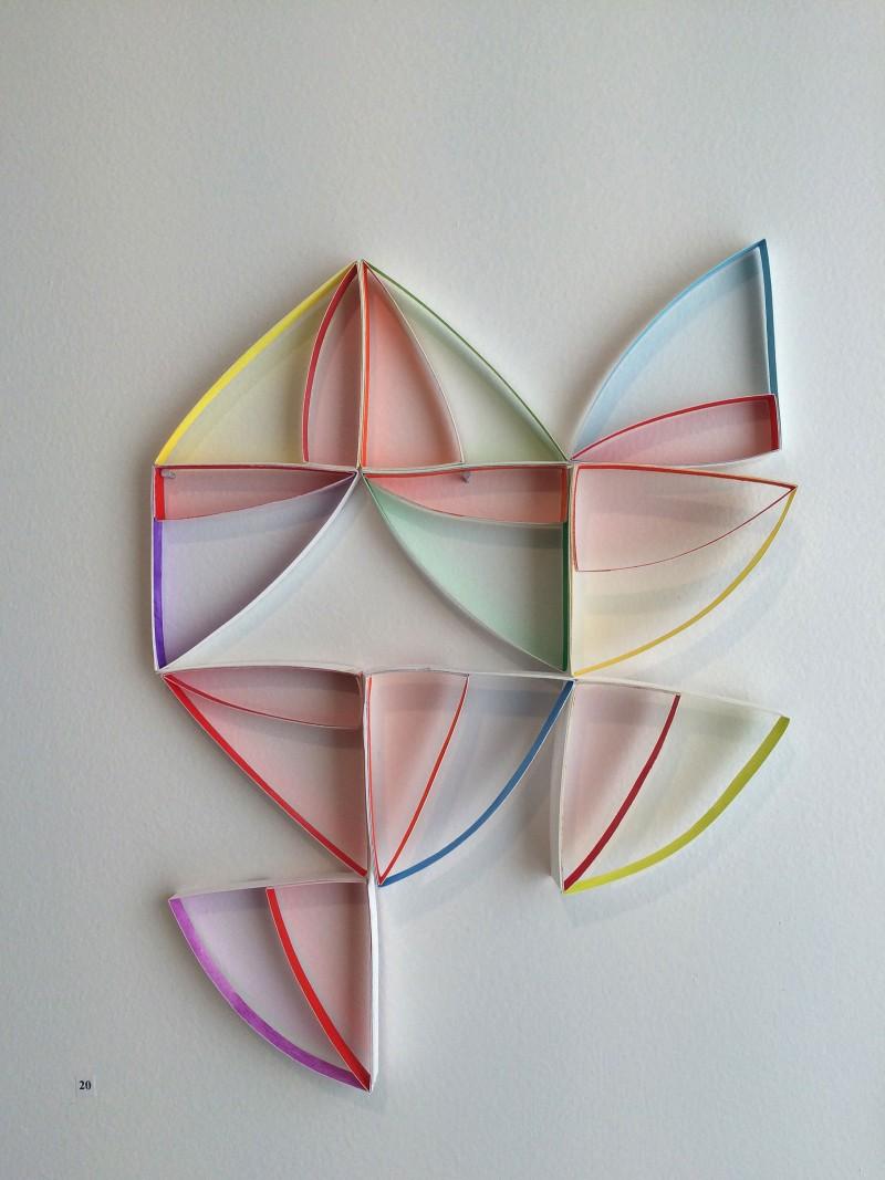 Installation view, Alex Paik, Improvisation #1 for Right Triangle (Magenta), 2015 Photo Credit: Rachel Sitkin