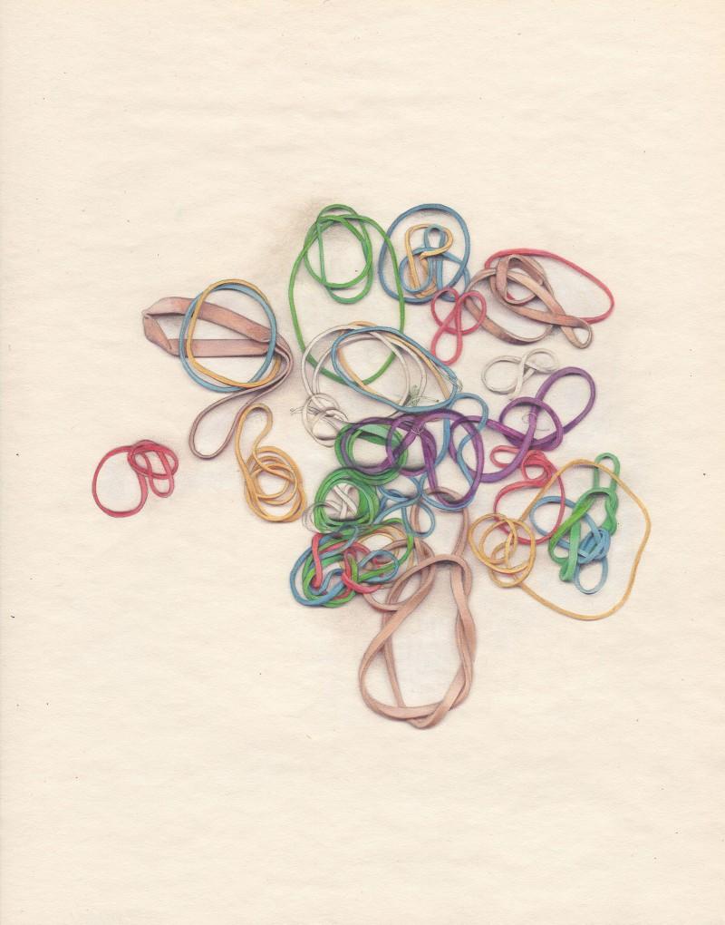 Gloria Ortiz-Hernandez, Rubber Bands #31, Pencil and color pencil on paper, 2012