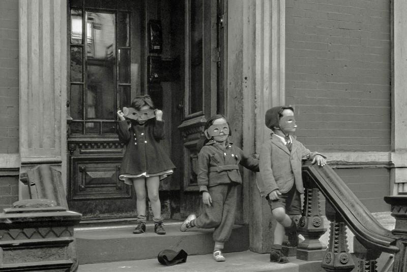 Children preparing to trick or treat on Halloween, Helen Levitt, date unknown