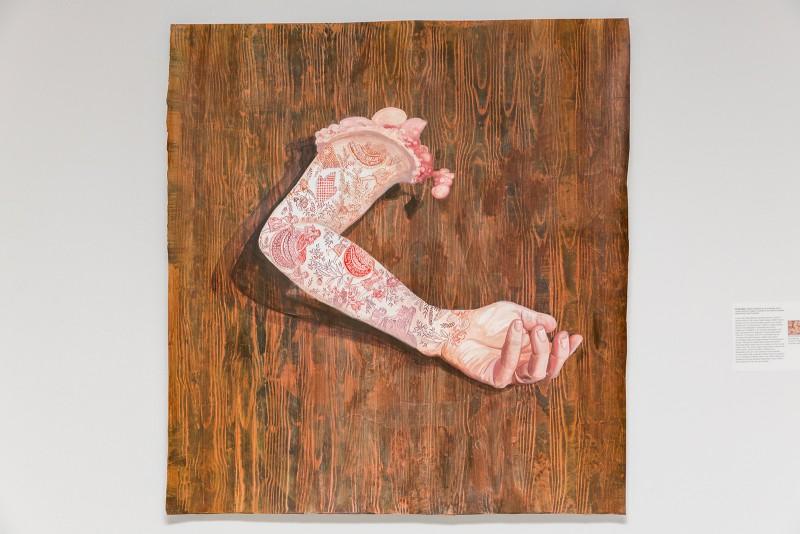 Firelei Báez, Retablo (España en las Americas), 2014. Acrylic and ink on paper. Photograph courtesy of Taller Puertorriqueño.