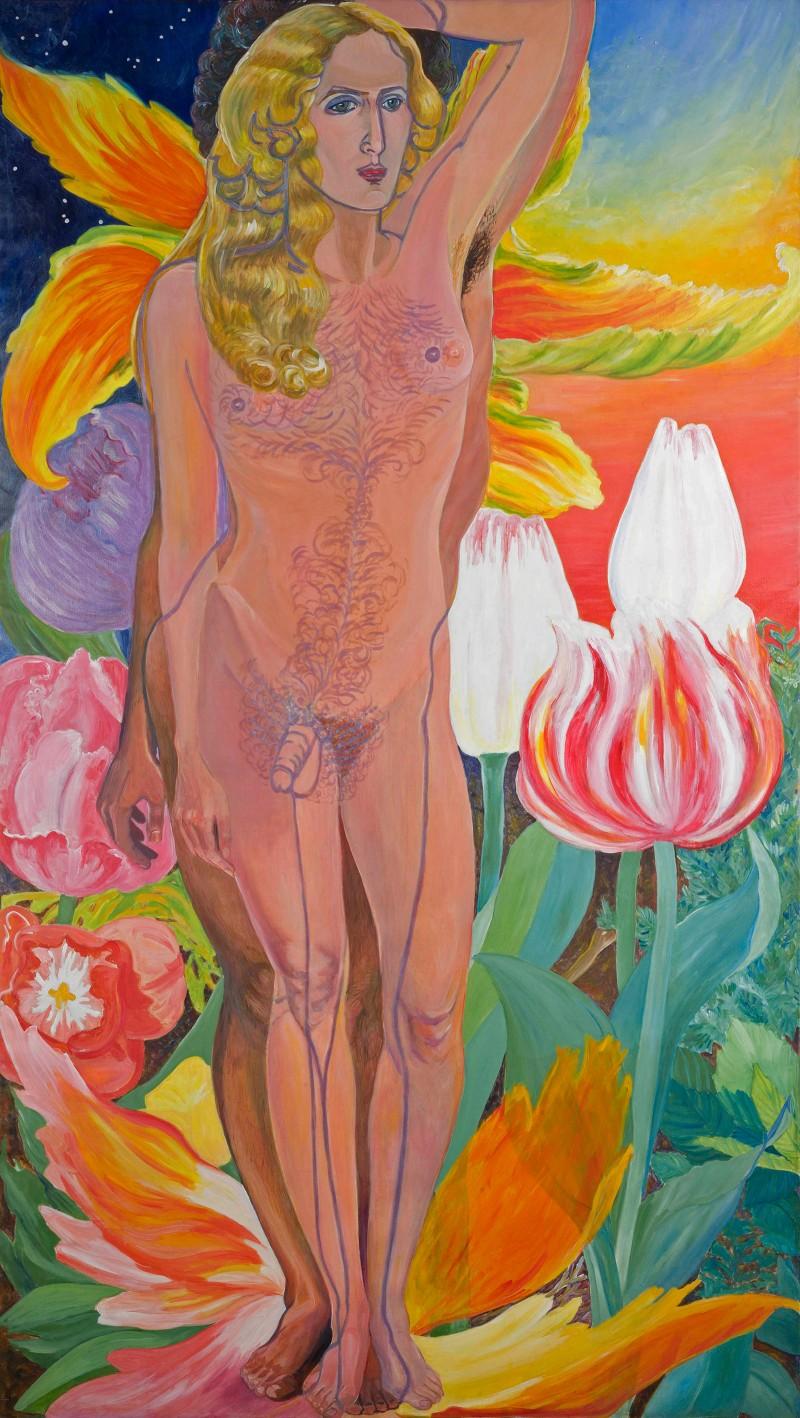 Sylvia Sleigh, Lilith, 1976, Acrylic on canvas, 108 × 60 in., Rowan University Art Gallery, Sylvia Sleigh Collection, © Friends of Sylvia Sleigh. Photo: Karen Mauch Photography