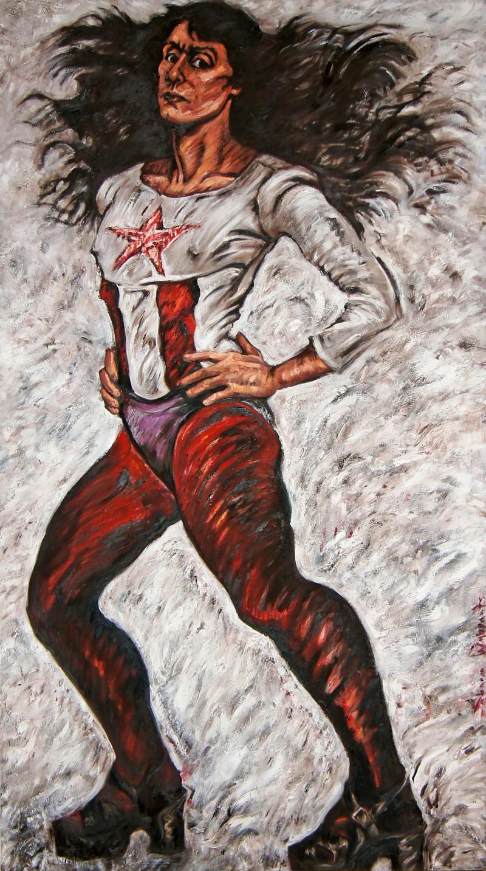 Sharon Wybrants Self-Portrait as Superwoman (Woman as Culture Hero painting the sister chapel