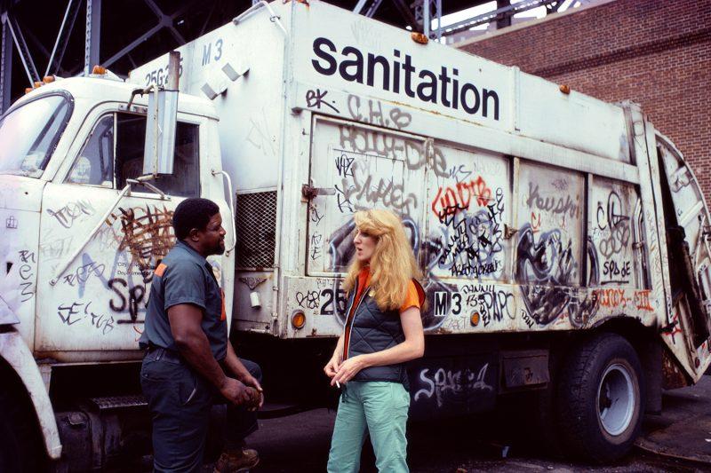 Mierle Laderman Ukeles, Touch Sanitation Performance, 1979-1980. Citywide performance with 8,500 Sanitation workers across all fifty-nine New York City Sanitation districts. Courtesy of Ronald Feldman Fine Arts, photo: Robin Holland.