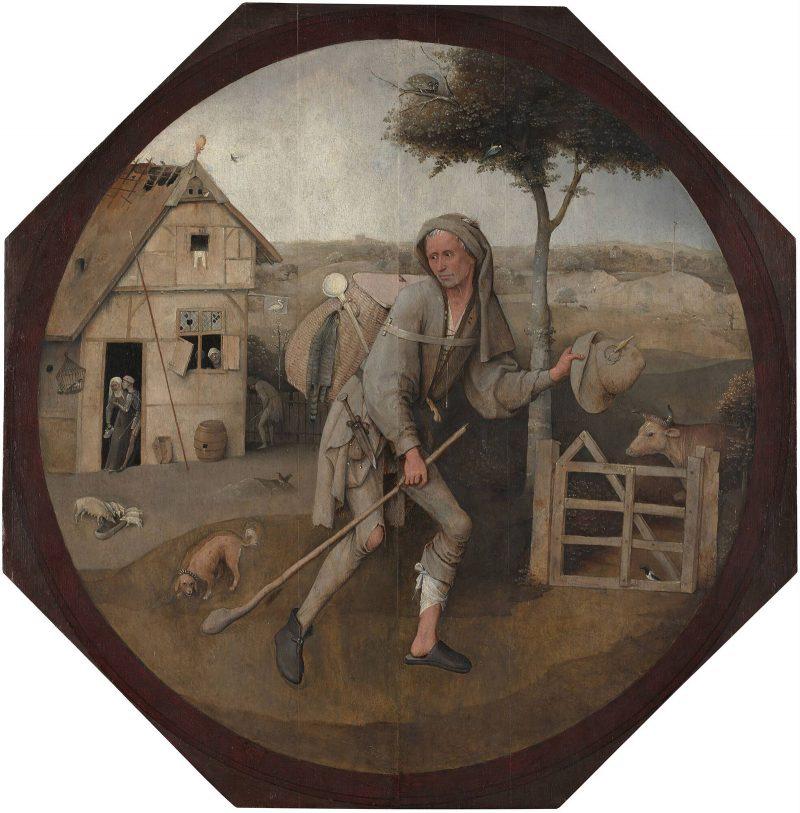 "Hieronymus Bosch ""The Wayfarer"" (1500-1502) Oil on panel, 71.3 x 70.7 cm. Courtesy Museum Boijmans Van Beuningen, Rotterdam."