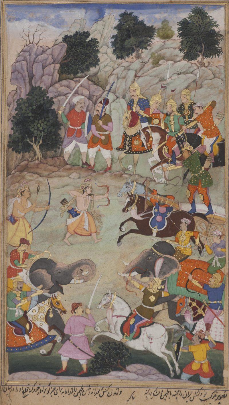 Makra; Lava and Kishu engage Lakshmana in battle; 1598; Opaque watercolor; 9 3/32 in. x 5 9/32 in. (23.1 cm x 13.4 cm)