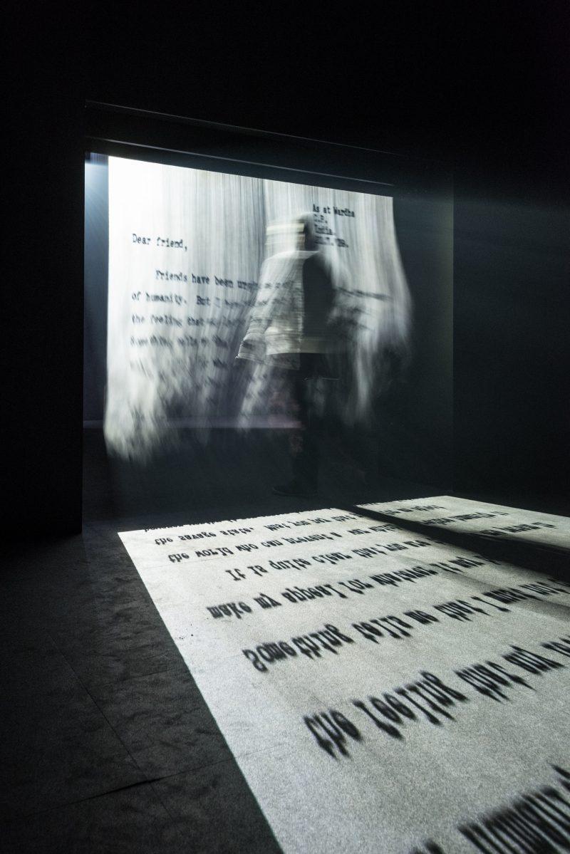 Installation view. Jitish Kallat: Covering Letter, 2012. Philadelphia Museum of Art; gift of Ajay Raju, 2016. © Jitash Kallat. Photo by Joseph Hu.