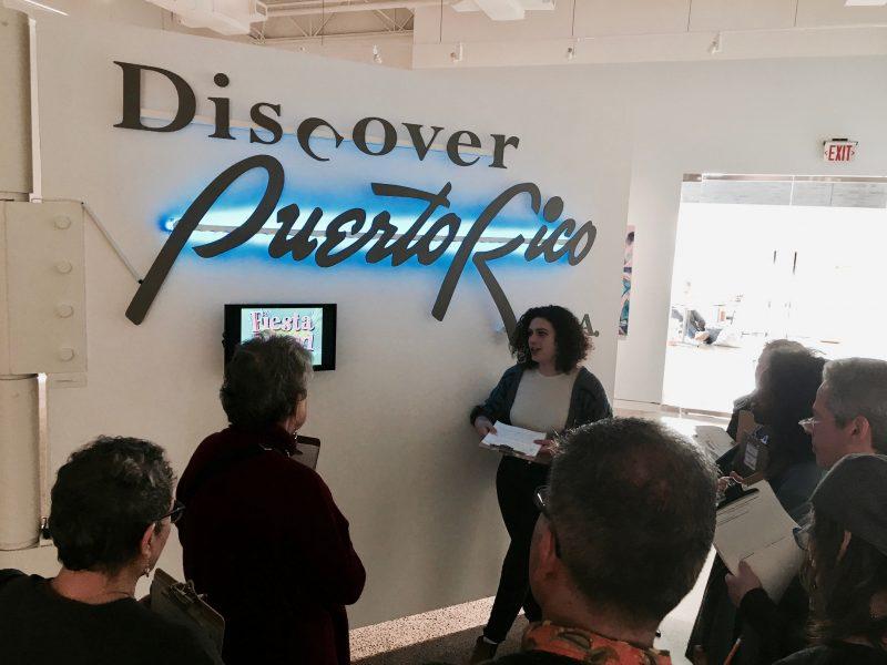 Discover Puerto Rico sign is part of Roxana Perez-Mendez exhibit at Taller Puertorriqueño