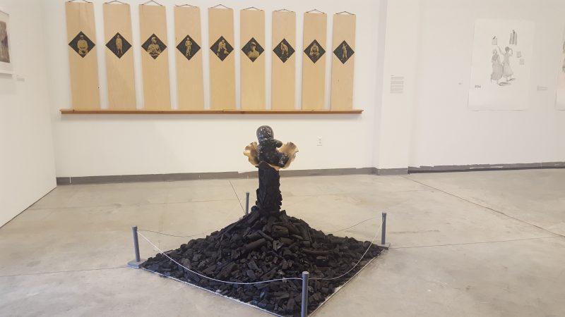 "Priyanka Dasgupta and Chad Marshall, ""Tar Baby"" sculpture and Tomi Arai wall piece"