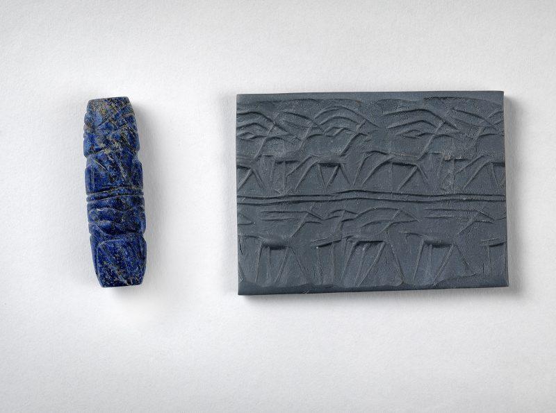 Cylinder seal, Lapis lazuli, ca. 2500 BCE, Ur, Iraq.